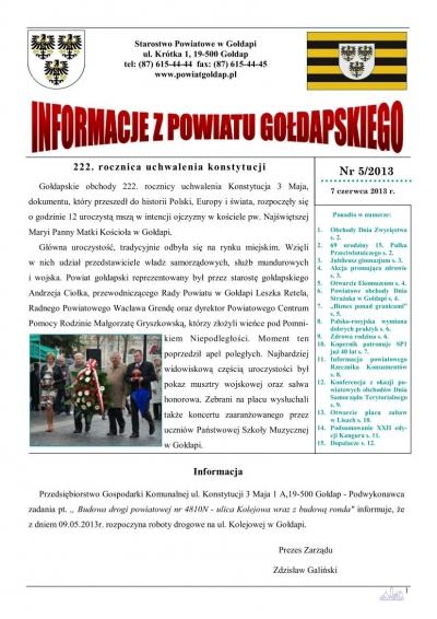 Informacje z Powiatu Gołdapskiego nr 5/2013