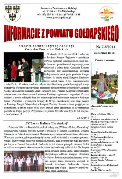 Informacje z Powiatu Gołdapskiego nr 7-8/2014