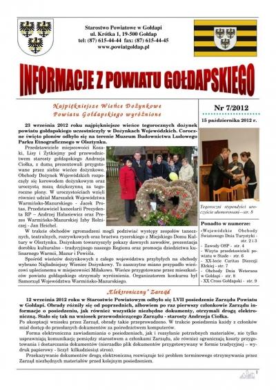 Informacje z Powiatu Gołdapskiego nr 7/2012
