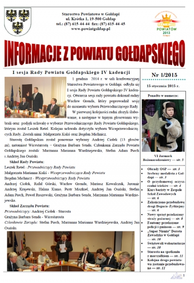 Informacje z Powiatu Gołdapskiego nr 1/2015