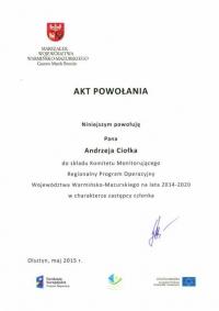 Starosta Gołdapski w składzie Komitetu Monitorującego RPO 2014-2020