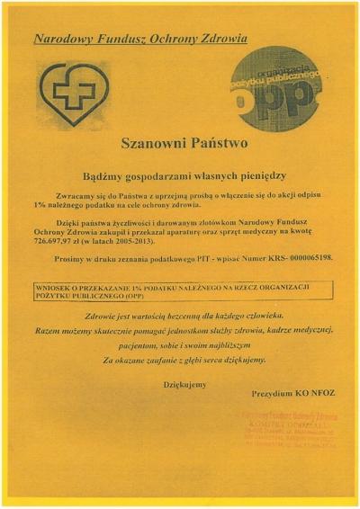 1 % podatku dla Szpitala i Zakładu Pielęgnacyjno-Opiekuńczego w Gołdapi