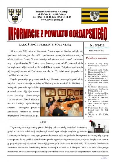 Informacje z Powiatu Gołdapskiego nr 3/2013