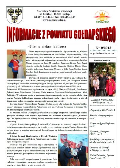 Informacje z Powiatu Gołdapskiego nr 9/2013