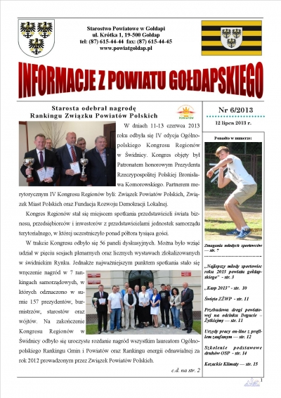 Informacje z Powiatu Gołdapskiego nr 6/2013