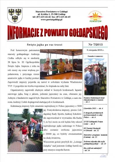 Informacje z Powiatu Gołdapskiego nr 7/2013
