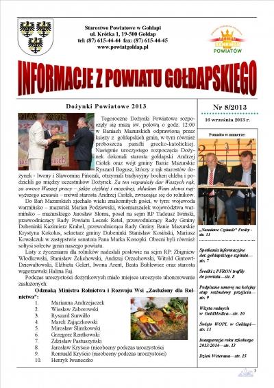 Informacje z Powiatu Gołdapskiego nr 8/2013